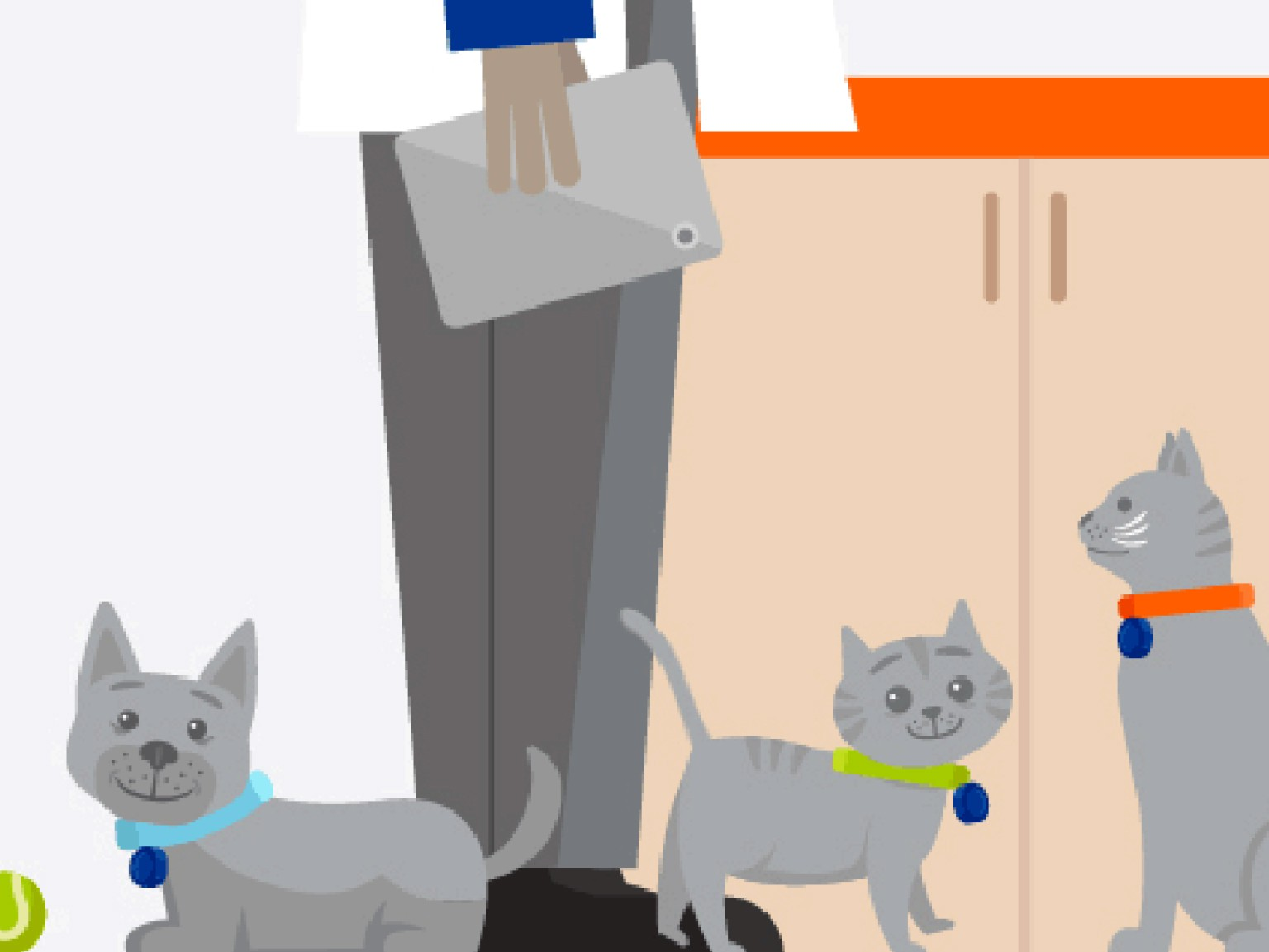Vector graphic of a puppy, a kitten, a cat, a dog and a veterinarian at the Banfield Pet Hospital