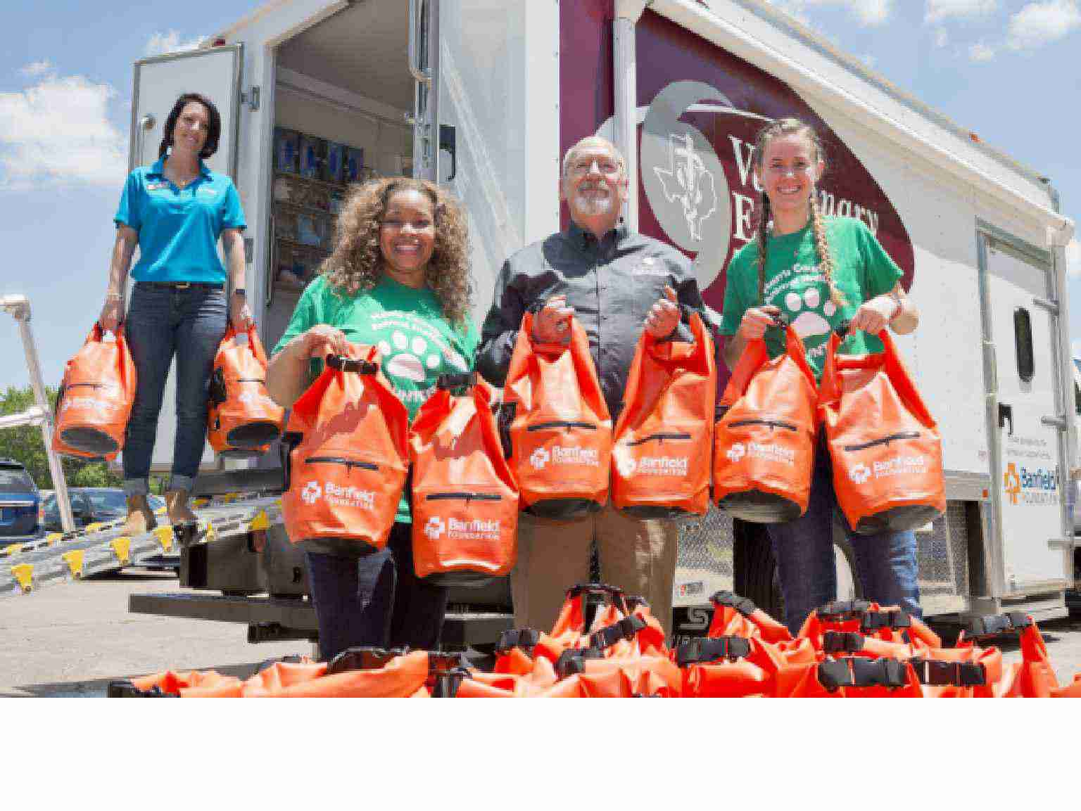 A group of Banfield's Associates participating in a disaster relief campaign
