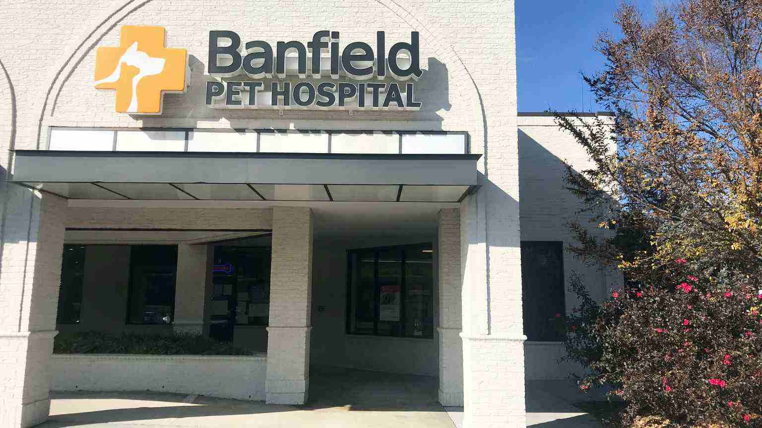 The entrance of the Banfield Pet Hospital