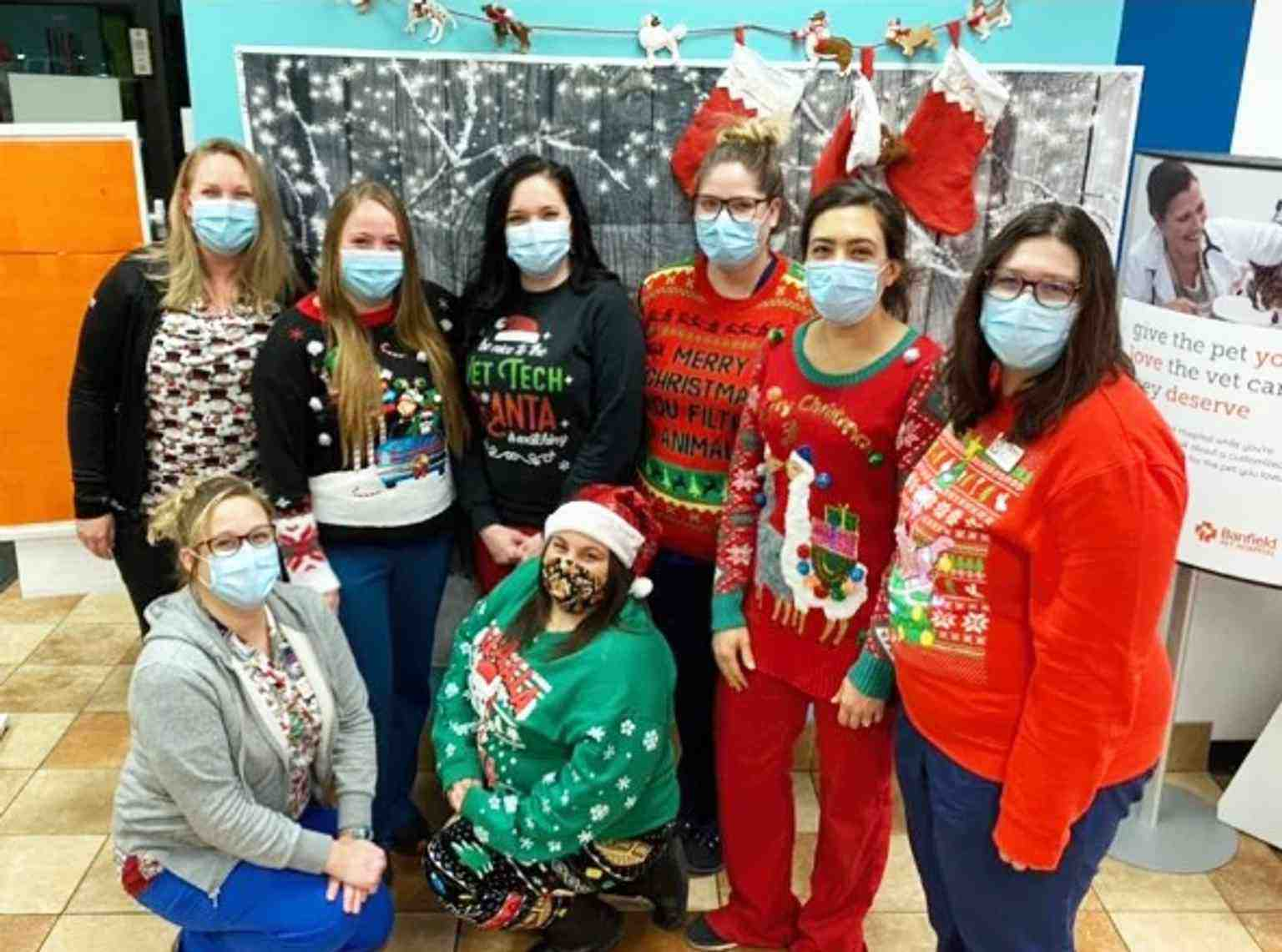 A group of Banfield Associates celebrating Christmas at the Banfield Pet Hospital