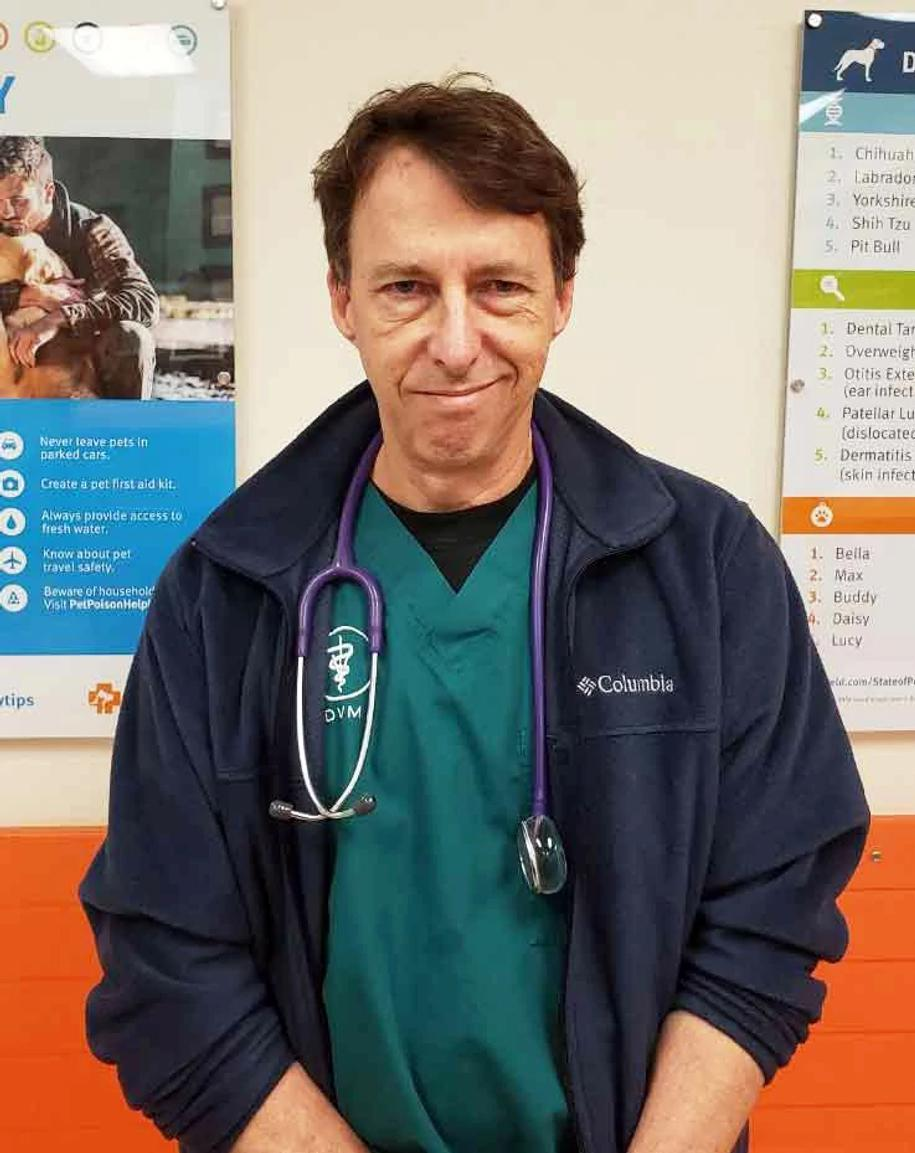 A male veterinarian at the Banfield Pet Hospital